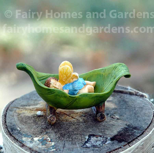 Miniature Woodland Knoll Fairy Baby in Leaf Cradle