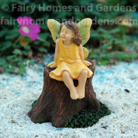 Miniature Woodland Knoll Fairy Girl on Booster Seat