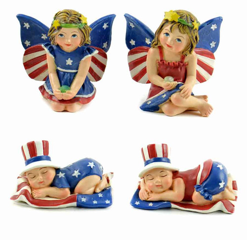 Miniature Patriotic Fairies Dressed in Red, White, and Blue