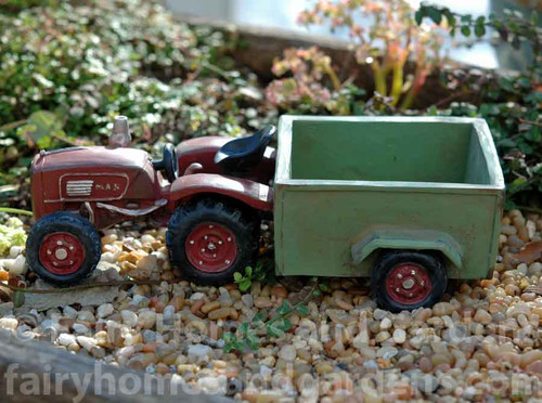 Miniature Red Farm Tractor with Wagon Planter