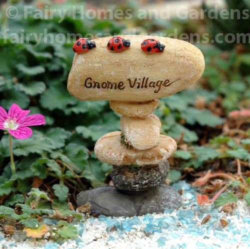 Top Collection Miniature 'Gnome Village' Sign in Fairy Garden