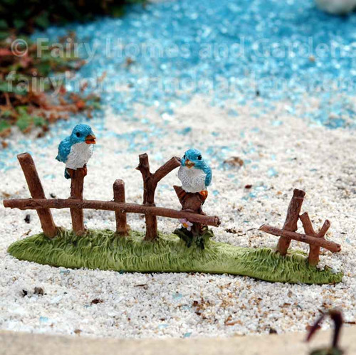 Top Collection Miniature Fence Section with Two Tiny Bluebirds