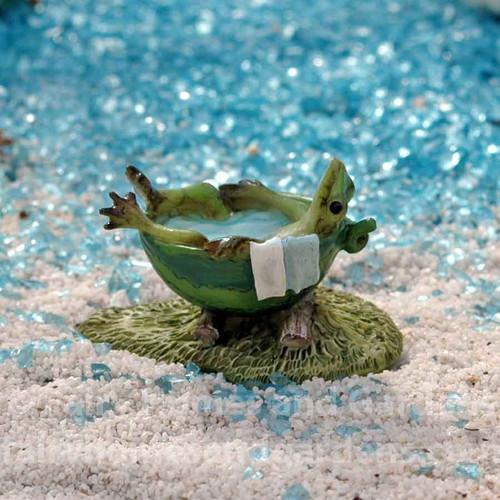 Mini Frog Taking A Bath collectible