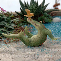 Miniature Alligator 'Chompie' Playing with Bird Collectible