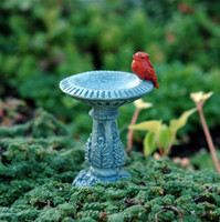 Miniature Birdbath with Redbird