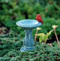 Miniature Birdbath with Redbird