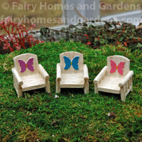Miniature Fairy Garden Chairs Adorned with Fairy Wings in Pink, Teal, and Purple