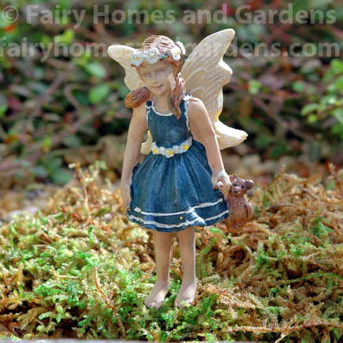 "Miniature Fairy Figurine ""Brianne"" with Stuffed Teddy Bear"
