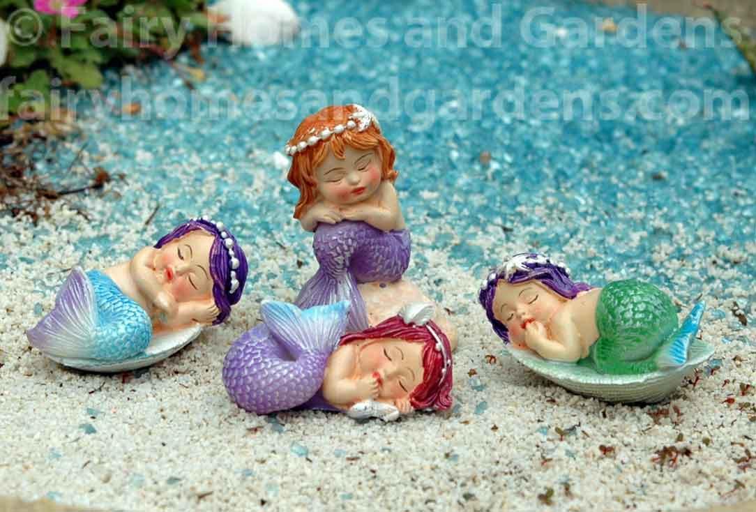Miniature Figurine FAIRY GARDEN ~ Little Mermaid with Baby Sea Turtle on Rock