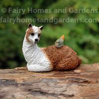 Llama with Tiny Bird Collectible Miniature Figurine