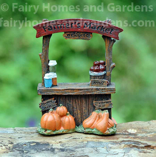 Miniature Farmers Market Stand with Pumpkins and Apples