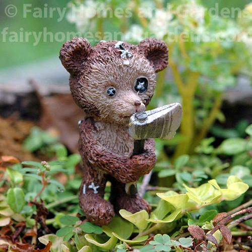 Miniature Halloween Teddy Bear with Axe Figurine