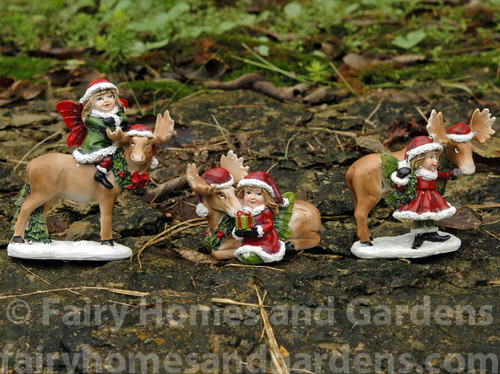 Christmas Fairies with Moose - Set of Three