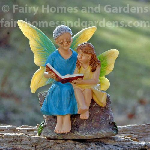 Woodland Knoll Grandma and Granddaughter Fairy Figurine