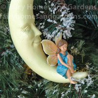 Fairy on a Crescent Moon Ornament - Closeup View