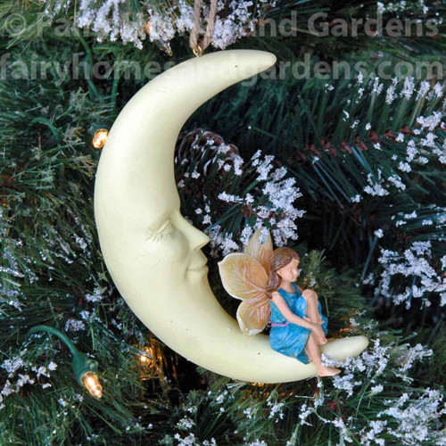 Fairy on a Crescent Moon Ornament