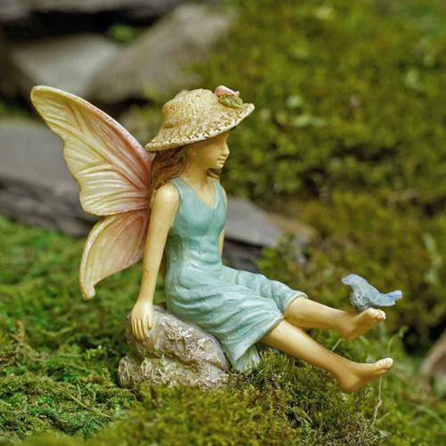 Fairy Girl with Tiny Bluebird Figurine