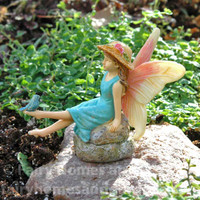 Woodland Knoll Fairy with Tiny Bluebird