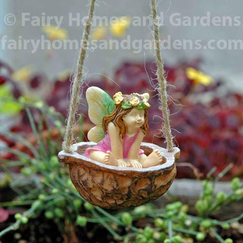 Miniature Fairy In Walnut Shell Swing