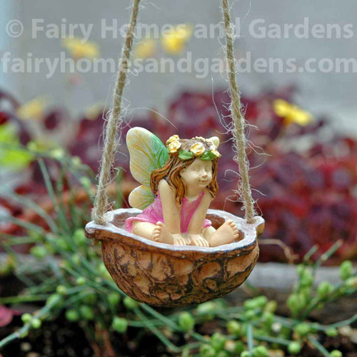 Miniature Fairy In Walnut Shell Swing