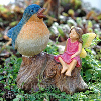 Bluebird with Fairy Figurine