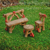 Miniature Rustic Mushroom Furniture Set