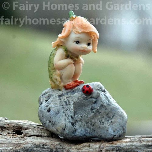 Miniature Garden Sprite with Ladybug Collectible