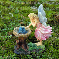 Woodland Knoll Fairy with Bluebird Nest Figurine