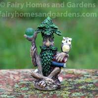 Miniature Tree Wizard with Owl and Magic Orb