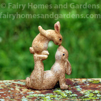 Miniature Woodland Knoll Bunnies Nose to Nose