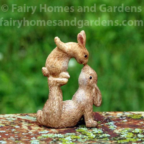 Miniature Woodland Knoll Bunnies Nose to Nose