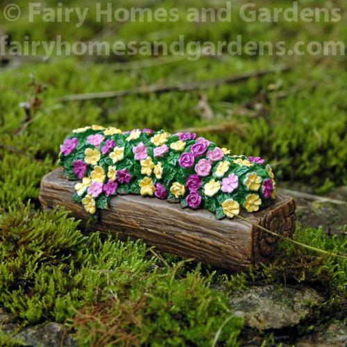 Woodland Knoll Miniature Log Planter of Flowers
