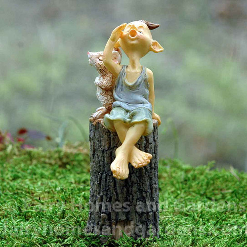 Pixie Singing with Mouse on a Tree Stump Figurine