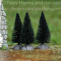 Miniature Black Bottle Brush Trees - Set of Three