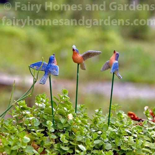 Miniature Flying Bluebirds - Set of Three