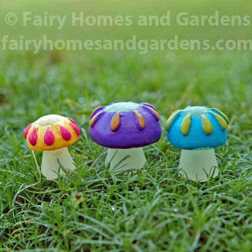 Miniature Glow in the Dark Mushrooms - Set of Three