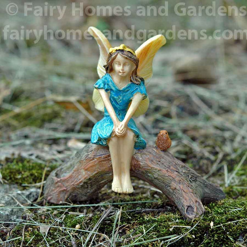 Woodland Knoll Daydreaming Fairy with Tiny Bird