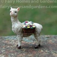 Miniature Llama Carrying Baskets of Flowers Figurine