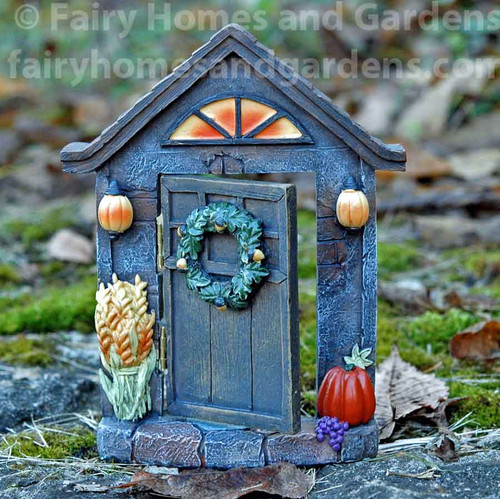 Autumn Hinged Fairy Door - Shown Ajar