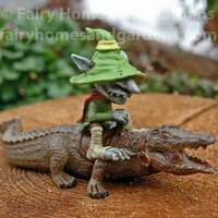 Swamp Land Troll 'Crocker' Riding an Alligator Figurine