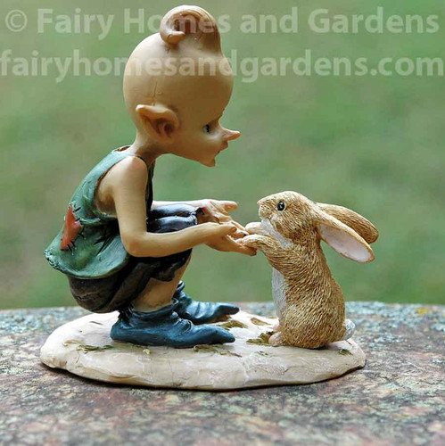 Top Collection Pixie Playing with Bunny Figurine