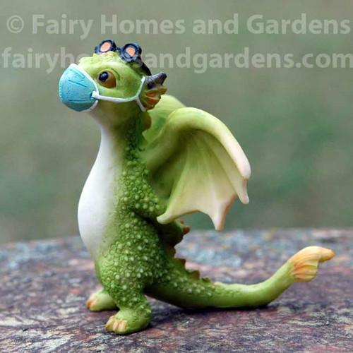 Miniature 'Rex' the Green Dragon Wearing a Mask