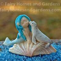 Blue-Haired Mermaid with Baby Seal Collectible Figurine