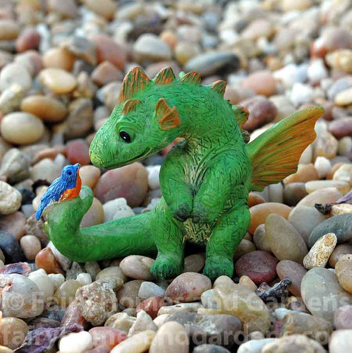 Miniature Dragon with Bluebird Figurine