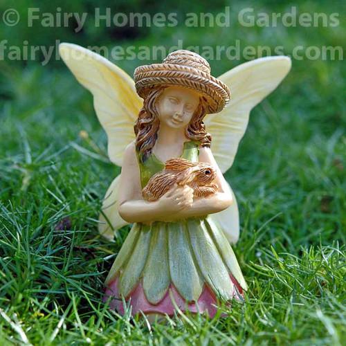 Woodland Knoll Fairy with Bunny Figurine