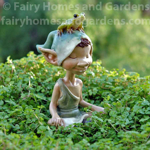 Pixie Meditating with Frog Figurine