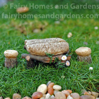 Miniature Top Collection Stone Table and Stools