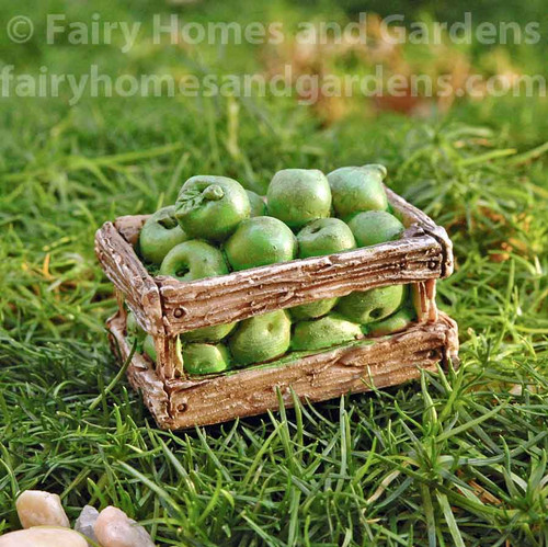 Miniature Crate of Tiny Green Apples