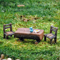 Miniature Log Table and Chairs Set
