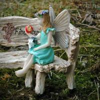 Miniature Fairy Figurine Aubrey with Kitten